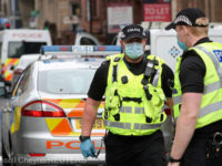 Police officers work at the scene of reported multiple stabbings at West George Street in Glasgow, Scotland, Britain June 26, 2020. REUTERS/Russell Cheyne