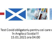 Test Covid obligatoriu și pentru cei care călătoresc în Scoția